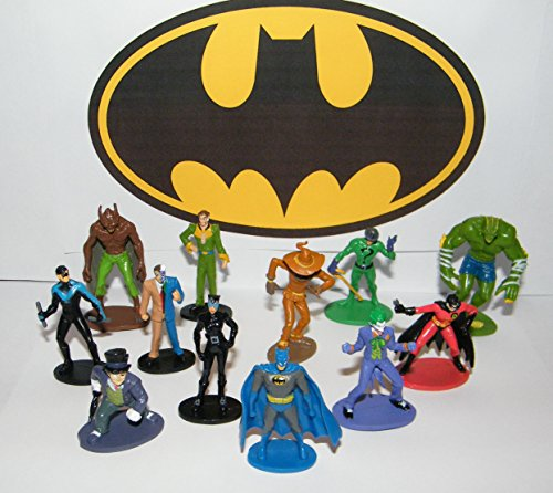 (Batman Deluxe Party Favors Goody Bag Fillers Set of 12 Figures with Nightwing, The Joker, Ras Al Gul, Catwoman, Robin and)