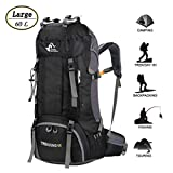 60L Waterproof Ultra Lightweight Packable Climbing Fishing Traveling Backpack Hiking Daypack,Backpack,Handy Foldable Camping Outdoor Backpack Bag with a Rain Cover (BLACK)