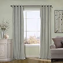 COFTY Silver Grey 100Wx108L Inch(1 Panel-doublewide ) Solid Matt Velvet Curtain Drapes Super Soft - Nickle Grommet