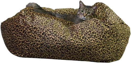 KandH Cuddle Cube Kitty Cat Bed, Large 24-Inch Round, Leopard, My Pet Supplies