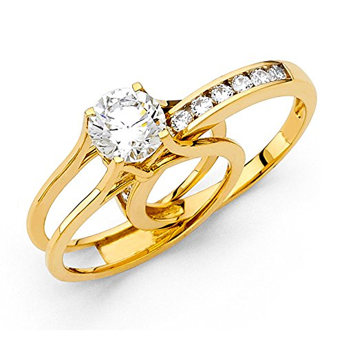14k Yellow OR White Gold SOLID Engagement Ring Amp Wedding Band Set