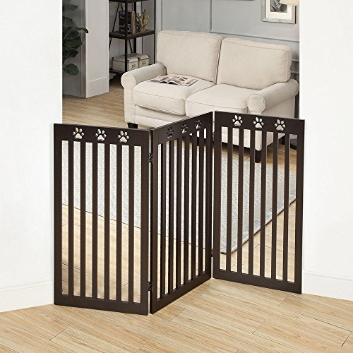- unipaws Freestanding Dog Gate with Paw Deco Top, Foldable Wooden Pet Gate, Step Over Fence Puppy Gate, Espresso (3 Panels, 20 inches Wide, 36 inches High)