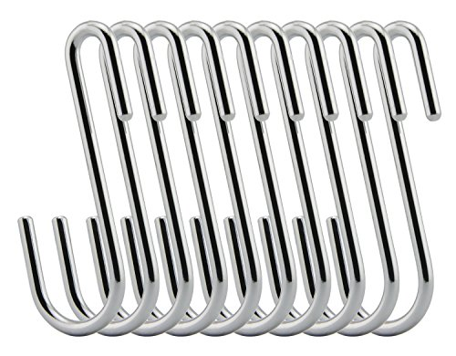RuiLing Chrome Finish Steel S hook Cookware Universal Pot Rack Hooks Sturdy Hanging Hooks - Multiple uses for Kitchenware , Pots , Utensils , Plants , Towels - Set of 10