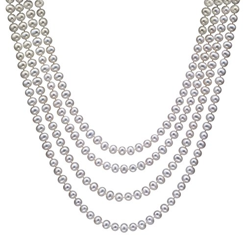 HinsonGayle AAA Handpicked 6.5-7 White Freshwater Cultured Pearl Rope Necklace 82 inch Endless Strand-82 in length