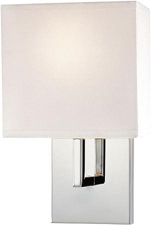 George Kovacs Gkp470 077 1 Light Wall Sconce W White Fabric Shade Chrome Amazon Com