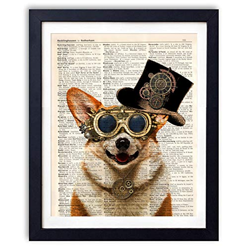 - Ihopes Steampunk Dog Vintage Book Art Print - 8x10 Unframed