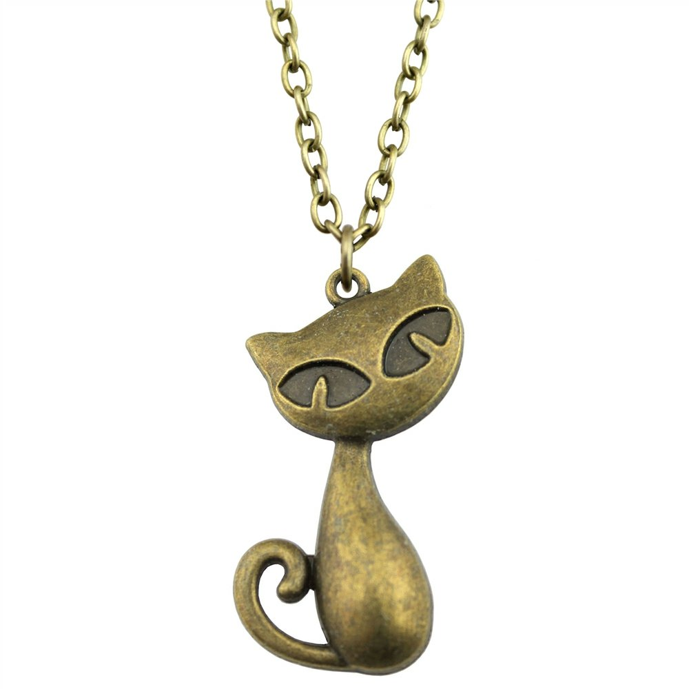 NEWME Big Cat Charms Pendant Metal Chain Necklace For Brother Handmade Jewelry Kraftpaper Box Gifts