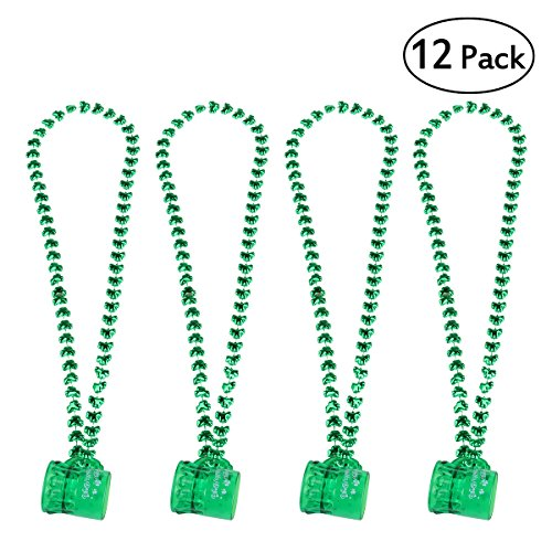 Unomor ULTNICE St Patrick's Day Beads Shamrock Necklace with Green Shot Glass 12PCS