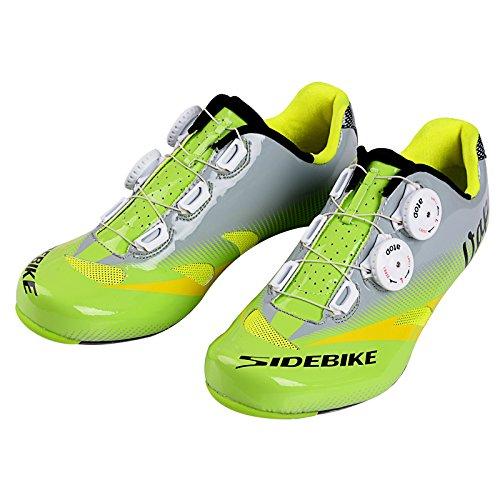 Herren/Mann Professionelle Radschuhe Rennrad Fahrradschuhe(Wählen Sie eine Größe mehr als üblich) (Grün/Grau(Carbon Sohle), EU 45/Ft 29cm)