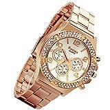 Lancardo Luxury Bling Double Daul Rhinestone Bezel Gold Tone Watch (Rose Gold)