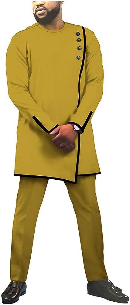 African Men's Suits Set 2 Pieces Shirts+Pants Crop top Ankara Clothing Attire Wax