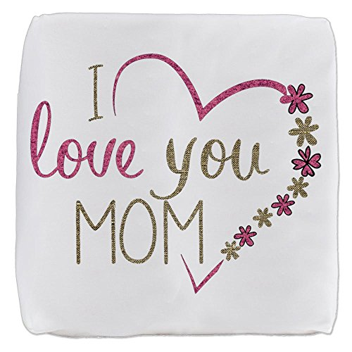 18 Inch 6-Sided Cube Ottoman I Love You Mom Burlap and Pink Heart