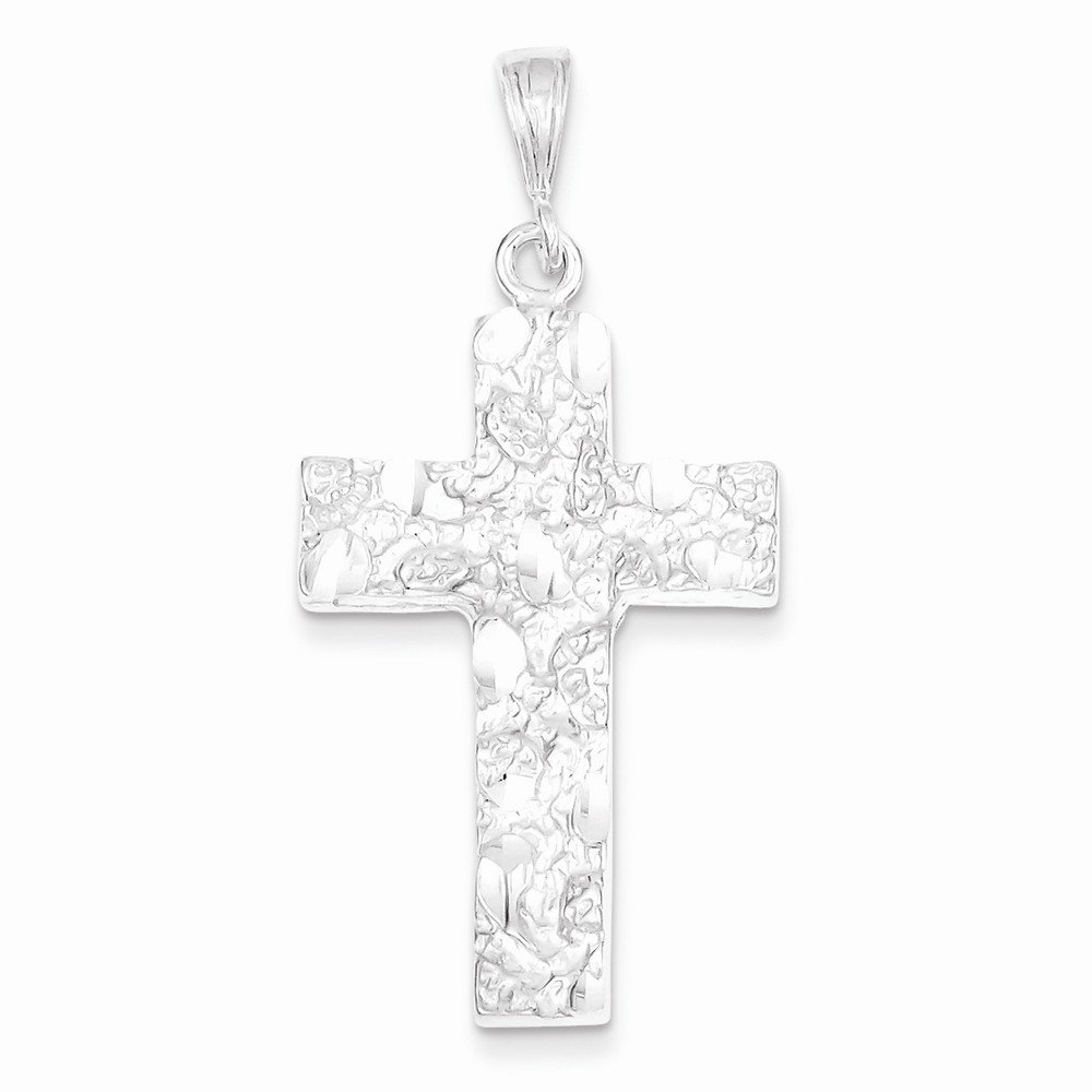 Box Sterling Silver Nugget Cross Pendant