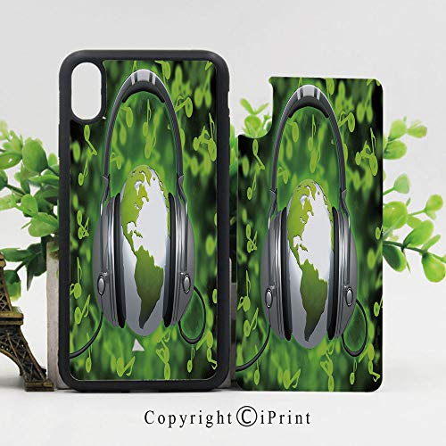 Case for Apple iPhone 10 World of Music Themed Composition DJ Headphones Musical Notes and Earth Globe Decorative Shockproof Flexible Soft TPU Scratch Resistant Protective Reinforced Phone Cases,Lime