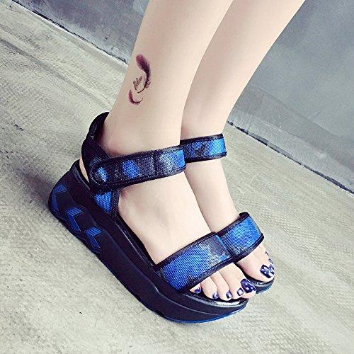 RUGAI-UE Magic Summer Sandals zapatos planos Blue