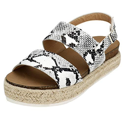 EROUGE Women Platform Sandals Espadrille Sandal Strappy Flat Comfortable High Heel Wedge Sandals Shoes Open Toe Sandals (Snakeskin Pattern,7M US)