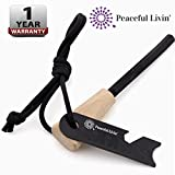 Peaceful Livin' Magnesium Fire Starter with Wood Handle and Steel Striker/Ruler/Bottle Opener - Ferrocerium Ferro Rod Flint Stick Campfire Tool Kit - Outdoor Emergency Survival Camping Set