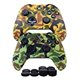 Cheap Hikfly Silicone Gel Controller Cover Skin Protector Kits for Xbox One Controller Video Games(2x Controller Camouflage cover with 8 x Thumb Grip Caps)(Yellow,Light Green)