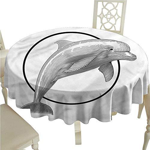 ScottDecor Printed Tablecloth Nautical,Jumping Dolphin and Ring Printed Tablecloth Round Tablecloth D 70