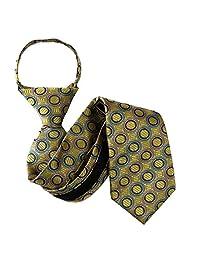 Gold - Blue - Lavender Boys 11 inch Zipper Necktie