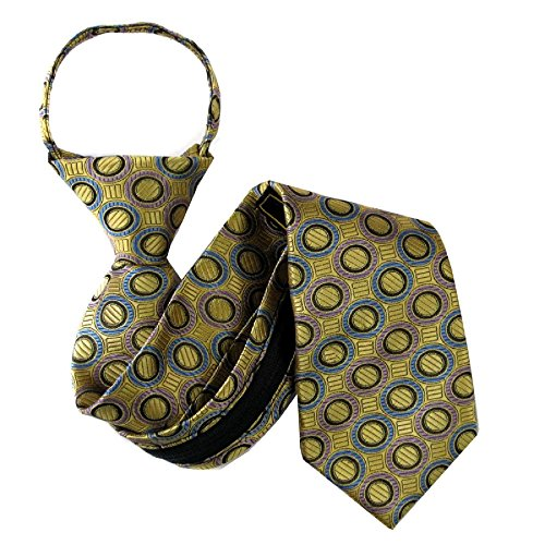 B-U-ZIP-11107 - Gold - Blue - Lavender - Boys 11.50 inch Zipper Tie by Buy Your Ties