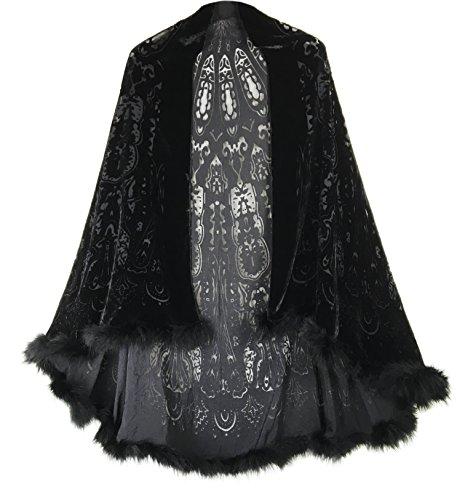 Bruceriver Black Burn-out silk velvet cape with feather edge (Black Velvet Capes For Womens)