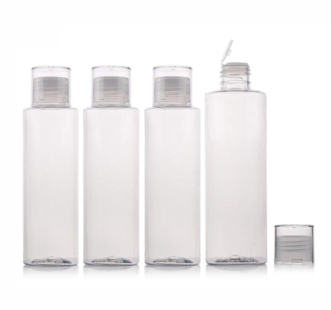 5 oz Squeeze Bottle with Flip Cap Empty Plastic Soft Travel Sample Tube Container Jars for Cosmetic Bath Shower Gel Lotion Liquid Shampoo - Pack of 4(Clear)