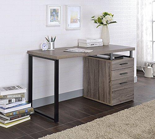 28h Cabinets (Major-Q Wooden Top Desk with 3 Drawer File cabinet, For Office/Living Room/Dorm 47 x 22 x 28H (Grey Oak))