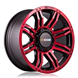 NASCAR N416 Gloss Red Wheel with Milled Rivets/Machine Face/Machine Lip (20 x 9''/5 x 127mm, 139.7mm, 0mm offset)