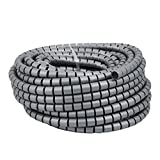 uxcell 20mm x 20m Flexible Spiral Tube Cable Wire Wrap Computer Manage Cable Gray