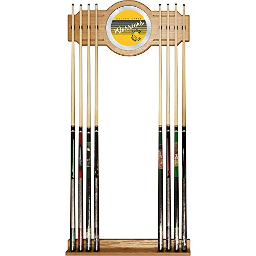 NBA Golden State Warriors Cue Rack with Mirror, One Size, Brown (Warriors Golden State Pool)