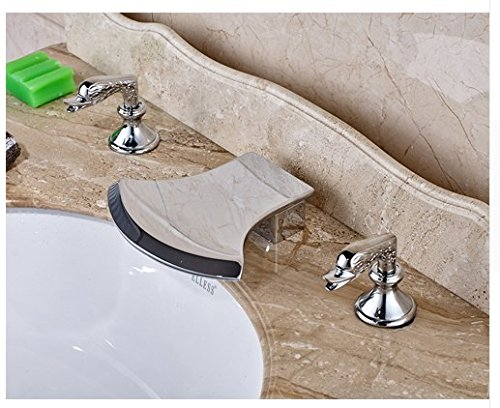 Gowe Axe Design Waterfall Spout Bathroom Sink Faucet Widespread 3pcs Mixer Tap Chrome Finished 0