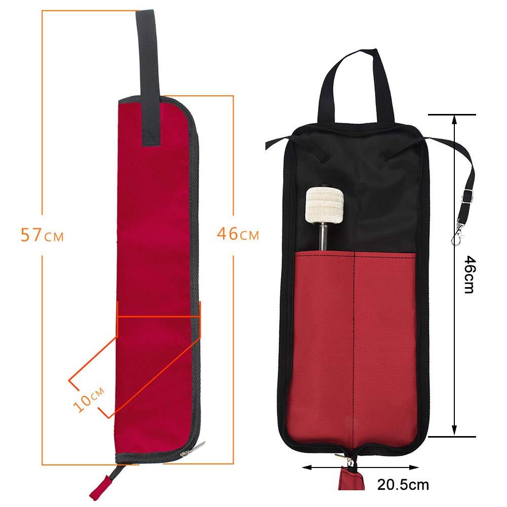 5 Colores Baquetas Bolsa Colgante del Almacenamiento Palillo de Tambor Port/átil Bolsa Dilwe Bolsa para Baquetas de Bater/ía Rosa