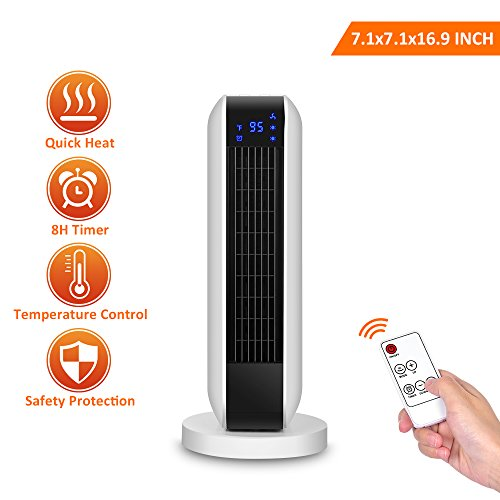- 7.1x7.1x16.9 INCH Digital Ceramic Heater with Remote Control, 1500W Portable Oscillating Heater with Overheating & Tip-Over Protection, Adjustable Thermostat & 8H Timer (About Ceramic)