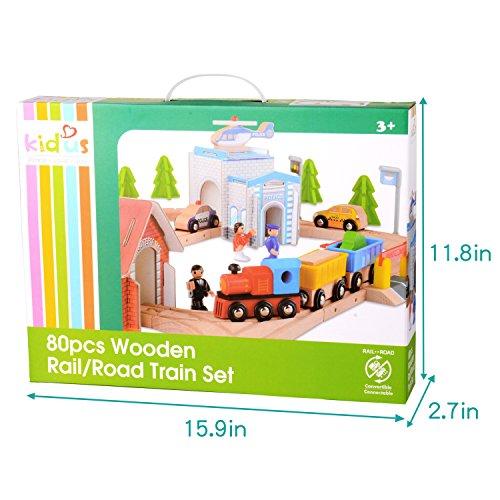 On Sale Qichuang Usa 80 Pcs Wooden Train Track Set