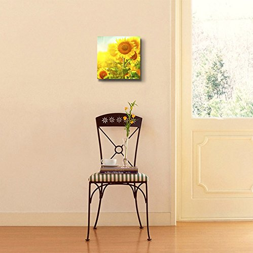 Beautiful Sunflowers Blooming on The Field Growing Sunflower Wall Decor
