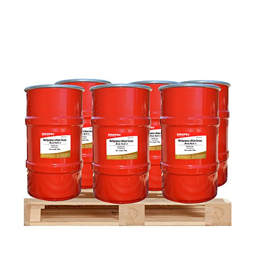 $195 Each - (6) Kegs of Red Multipurpose Lithium Grease #2 - 120LB. (16 Gallon) Keg by Sinopec