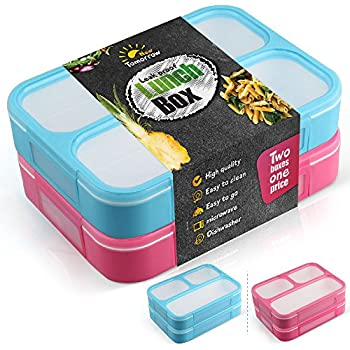 Leakproof bento lunch box - VIDEO DEMONSTRATION - set with 3 compartments - 2 food prep containers for kids and adults - BPA FREE FDA approved - microwave, dishwasher and freezer safe - new tomorrow