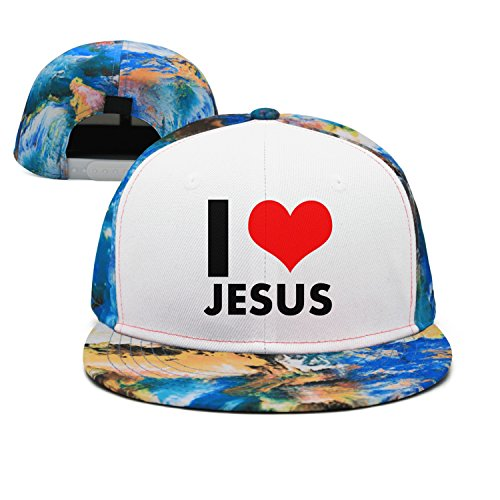 (bbabylike I Love Jesus Heart Christian Style Flat Bill Fitted Hats CPS)