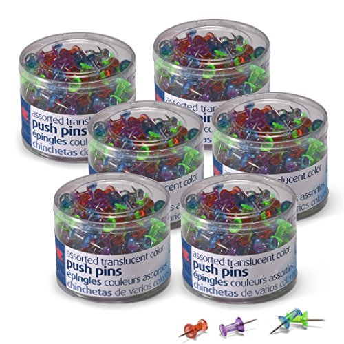 Officemate Push Pins Translucent Assorted Colors, 200 Count, 6 Tubs of 200 - Pins Tub