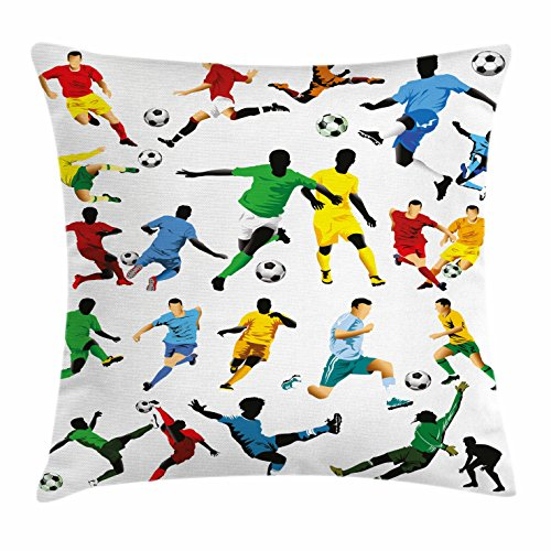 Lunarable Boy's Room Throw Pillow Cushion Cover, Collection of Soccer Players in Different Positions Hitting The Ball Goal Win, Decorative Square Accent Pillow Case, 18 X 18 inches, Multicolor by Lunarable