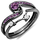 Dazzlingrock Collection Black Rhodium Plated 10K Round Diamond & Amethyst Bridal Engagement Ring Set, White Gold, Size 8