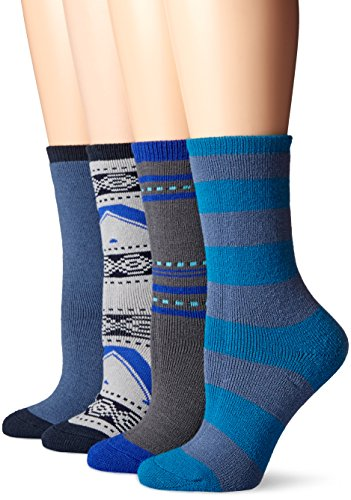 Field & Stream Women's Cabin Warm and Cozy Sock 4-Pack, Blue/Navy, 9-11
