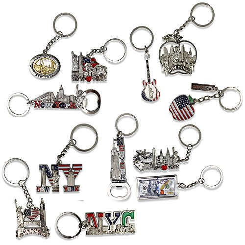 12 NYC Keychain Souvenir Collection - Includes Empire State, Freedom Tower, Statue Of Liberty, USA Flag, NY Cab, And More - Metal - Bonus Race Day ()