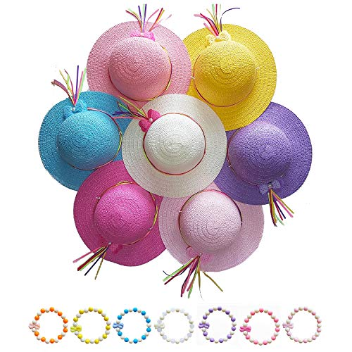 7 Sets of Girls Straw Hats + Bracelets Tea Party Dress up Set in Assorted Colors -