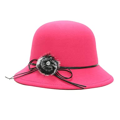 cd299f37a6d ChenXi Store Womens Vintage Wool Felt Cloche Bucket Bowler Hat Winter  Crushable