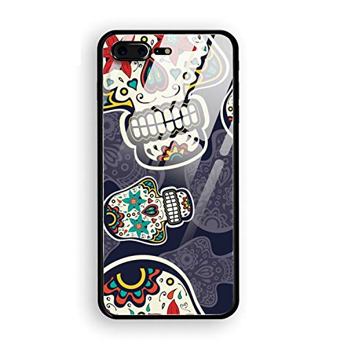 (Phone 7 Plus Case, Phone 8 Plus Tempering Case for Girls, Suger Skull Protective Case Hybrid Cover for Phone 7 Plus and Phone 8)