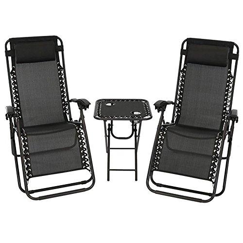 Akari 3 pcs Set Deluxe 2-Pack Zero Gravity Chairs & Folding Table w/Cup Holder Set (3 pcs set) (Pure-Black) by Akari