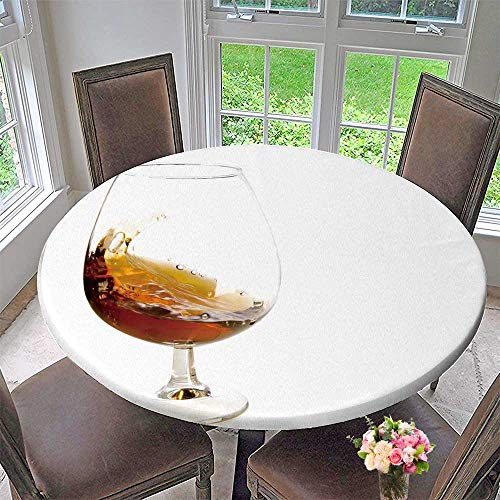 PINAFORE HOME Modern Simple Round Tablecloth Flow Cognac in Glass on White Ground Decoration Washable 63