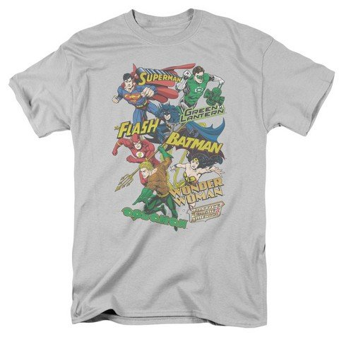 JLA Justice League Collage Licensed Adult T-Shirt